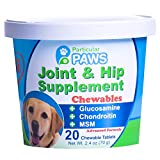 Particular Paws Glucosamine for Dogs Advanced Joint & Hip Supplement with MSM, Chondroitin, Vitamin C & E, Hyaluronic Acid, Omega 3 & Omega 6-20 Chewable Tablets