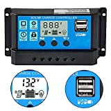 20A Solar Charge Controller 12V/24V Auto, Solar Panel Controller 20Amp PWM Solar Regulator with Dual USB LCD fit for Small Solar System