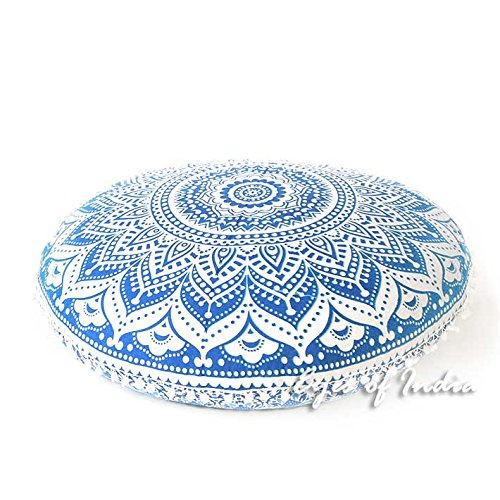 Eyes of India - 32'' Blue White Floor Meditation Pillow Cushion Seating Throw Cover Hippie Mandala Round Colorful Decorative Bohemian Indian Boho Dog bedCover Only by Eyes of India (Image #2)