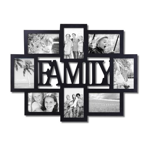 adeco pf0432 black wood family wall hanging collage photo frame 8