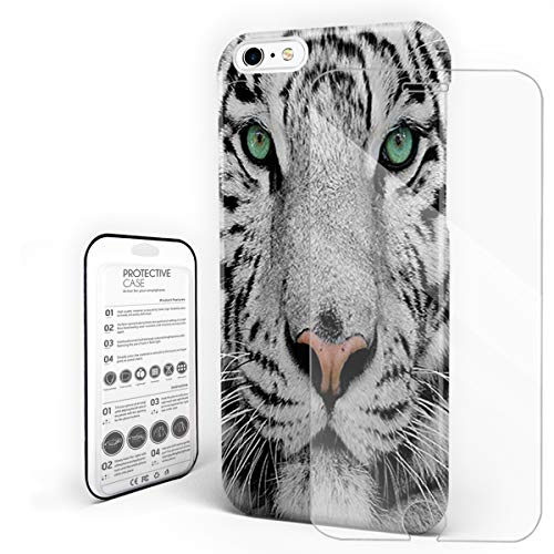 (YEHO Art Gallery Christmas Phone Case Protective Design Hard Back Case,Cool 3D White Tiger Face Animal Pattern,Phone Covers with Screen Protector for Girls Boys,iPhone 6/6s)