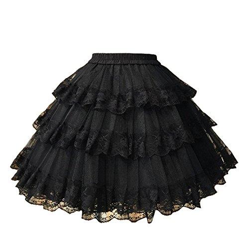 (Smiling Angel 3-Layered Gothic Layered Ruffled Luxury Vintage Rockabilly Petticoat Crinoline Underskirt)