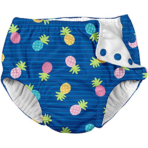 (i play. Baby Girls Snap Reusable Absorbent Swimsuit Diaper, Blue Pineapple Stripe,)