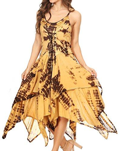 Annabella Brown Sakkas Beige Handkerchief Corset Bodice Hem Dress PUUxw87q
