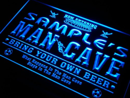 qd1564-b Christian's Man Cave Soccer Football Bar Neon Sign by AdvPro Name
