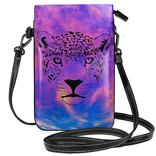 Lightweight Crossbody Cell Phone Case With Credit Card Slots And Magnetic Button For Women Teen Girls, Jaguar Cougar Cat Puma Panther Leopard Smartphone Wallet Purse With Removable Strap For ()