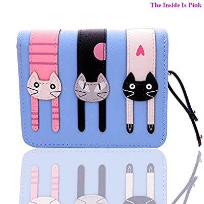 FXTXYMX Mini Wallets PU Leather Cat Coin Purse Card Holder for Teen Girls and Women