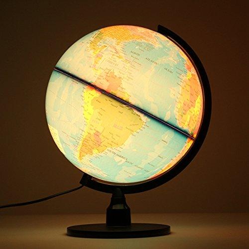 JINHUGU Kreative beleuchtete Welt Erdkugel rotierenden Nachtlicht Desktop-Dekoration New
