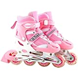 Inline Skate Shoes Adjustable Size 35 to 39 Pink