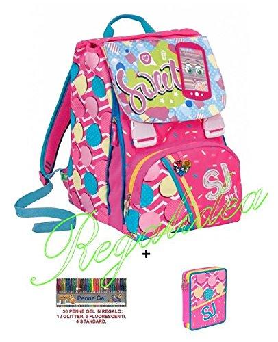 Mochila sdoppiabile SJ GIRL Flip System + Estuche 2 pisos Pieno + 30 bolígrafos Gel de