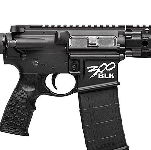300 Blackout BLK AR15 Lower Graphic - Spartan Style .300 AAC AR Decal (Matte White) ()