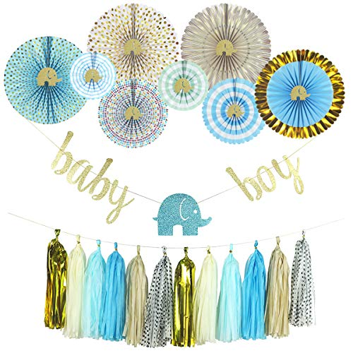 YARA Elephant Baby Shower Decorations Kit for Boy| Blue and Gold Party Supplies| Paper Fans| Party Decorations| Baby Boy Bunting Banner| Hanging| Tassels Garland| Glitter Gold| Blue| Cream| 29 -