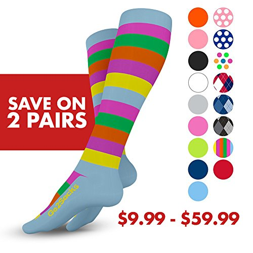 GO2 Compression Socks for Women & Men-Nurses,Running,Travel,Maternity-20-30mmHg(high)Medical Stocking-Graduated Fit Crossfit,Cycling,Skiing,Hiking-Best Performance,Recovery,Circulation & Stamina(2SXL) by Go2Socks