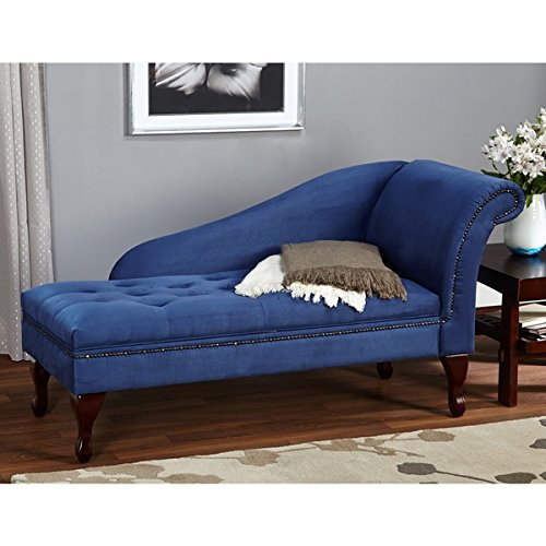 Blue Chaise Storage Lounge Chair Sofa Loveseat for Living Room or Bedroom (Living Room Mahogany Chaise)