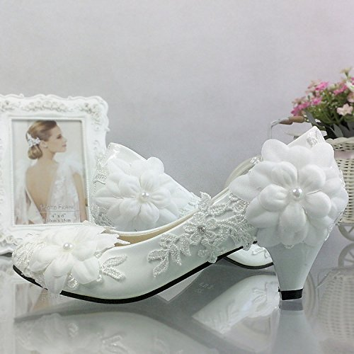 Prom Wedding White Single Wedding Photo VIVIOO White Toast Sandals Flower Wedding Lace Shoes Sweet With Shoes Lady Pearl Bride q0S81wd