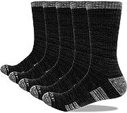 YUEDGE Men's Moisture Wicking Work Boot Socks 5Pairs/Pack Comfort Cotton Heavy Cushion Crew Sports Athleti
