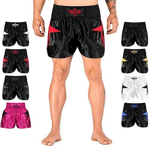Elite Sports Muay Thai, MMA, Kickboxing Shorts, Kickboxing Muay Thai Training Shorts for Men and Women (Red, Medium)