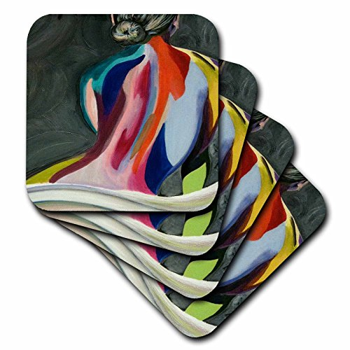 Melissa A. Torres Art Figurative - A colorful abstract painting of a woman with bun in her hair - set of 8 Coasters - Soft (cst_128265_2)