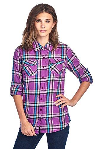 (ICONICC Women's Long Sleeve Plaid Flannel Shirt (CT0023_18_L))