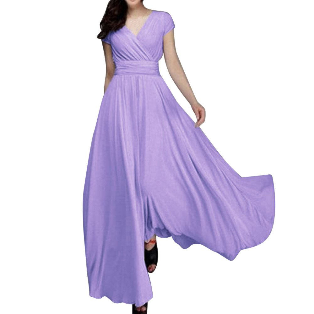 Women Tunic Tops Dresses Lady Solid Plus Size Short Sleeve Prom Evening Party Long Maxi Dress (S, Light Purple)