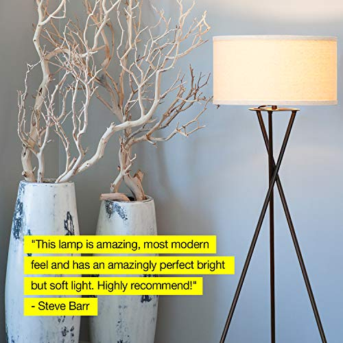 Brightech Jaxon Tripod LED Floor Lamp – Mid Century Modern, Living Room Standing Light – Tall, Contemporary Drum Shade Lamp for Bedroom or Office – Black by Brightech (Image #7)