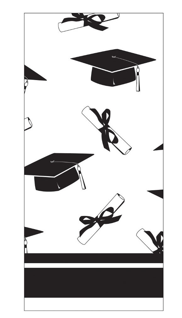 Creative Converting School Colors Paper Art Square Graduation Party Plastic Table Cover, White