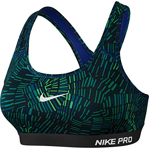 Nike Women's Pro Classic Padded Tidal Multi Sports Bra (X-Large, Deep Royal Blue/Spring Leaf/Black/White)