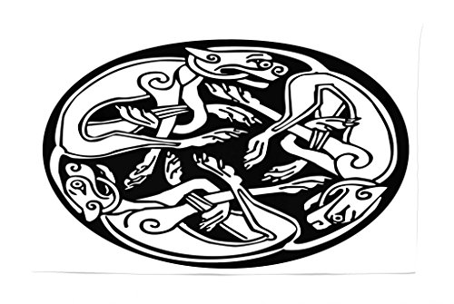 Lunarable Celtic Tapestry, Three Dogs Biting Their Tails Animal Forms Vikings Heritage Celtic Knots Medallion, Fabric Wall Hanging Decor for Bedroom Living Room Dorm, 45 W X 30 L Inches, Black White