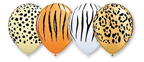 Safari Jungle Zoo Animals Jumbo Balloons Zebra, Tiger, Giraffe & Monkey 50 Count