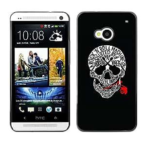 Shell-Star Arte & diseño plástico duro Fundas Cover Cubre Hard Case Cover para HTC One M7 ( Skull Music Rose Rock Roll Guitar Black )