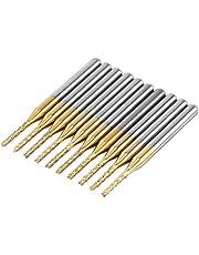 "10pcs 1.5mm Cutting Edge End Mill CNC PCB Engraving Bit Tungsten Coating 1/8"" Shank"