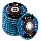 Neiko 11258A 4.5 x 7/8-Inch High Density Premium Zirconia Alumina Jumbo Flap Disc, 80 Grit | Bevel Type #29 Conical Design | 10-Pack