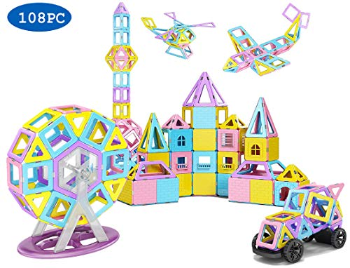 - Magnetic Tiles, 2nd Generation ,108 Pieces STEM Magnetic Building Blocks with Castle Cards Includes Wall, Balcony, Windows, Ferris Wheels and car Wheels, Great for Building House and Castle