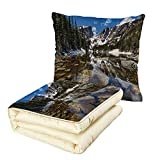 Quilt Dual-Use Pillow Lake House Decor Dream Mirroring Lake at The Mountain Park in West America River Snow Away Photo Multifunctional Air-Conditioning Quilt Green Brown Blue