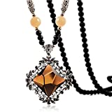 HeyGirl National Style Long Sweater Beads Chain Retro Crystal Rhinestone Necklace Choker Pendant(Champagne)