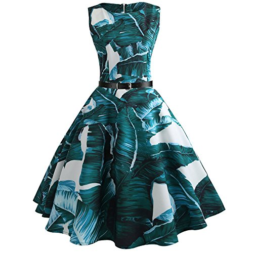 iLUGU O-Neck Sleeveless Knee-Length Dress for Women Banana Leaf Print A-Line Sexy Dresses for Women Green