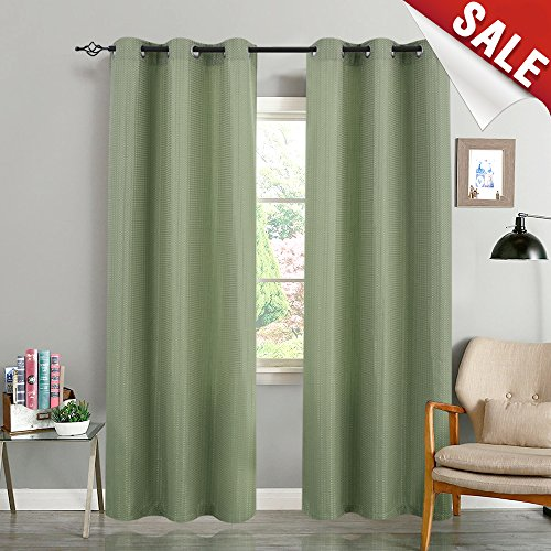 Room Darkening Window Curtains for Living Room 84 inch Length Privacy Waffle-Weave Textured Curtain Panels for Bedroom, Olive, 1 Pair