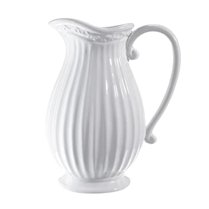 Amazon Dvine Dev 10 Inches Tall White Ceramic Pitcher Vase