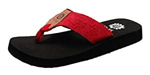 Yellow Box Women's Root Cloth Floral Foam Flip Flop Sandal (6.5 B(M) US, Red)
