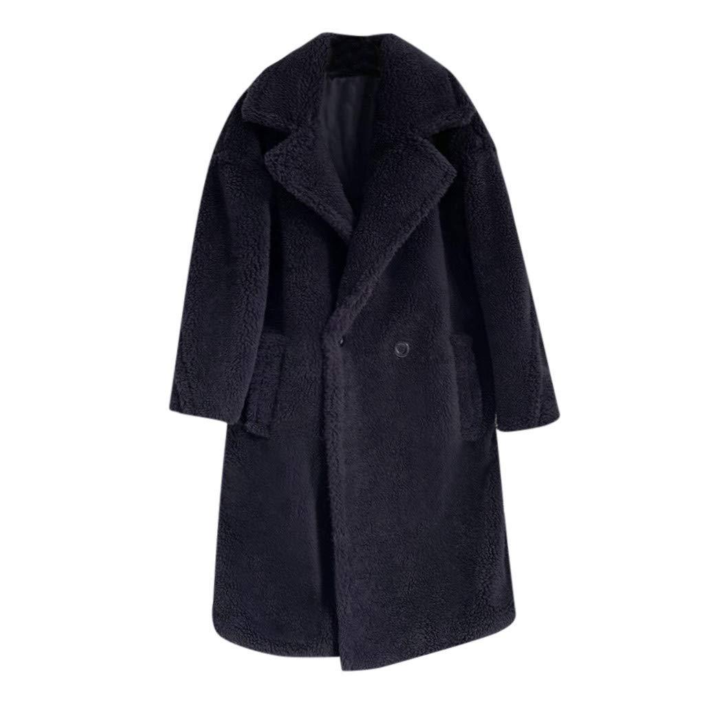 HCFKJ Women Tops Fashion Autumn and Winter Loose Medium Long Windbreaker Lamb Coat(Black,S) by HCFKJ