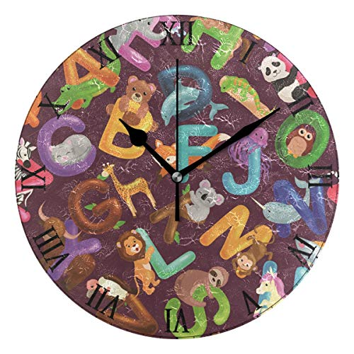 AHOMY Animals Alphabet Set Number Wall Clock, 9.5 Inch Round Clock Silent Non-Ticking Battery Operated Easy to Read for Home Office School