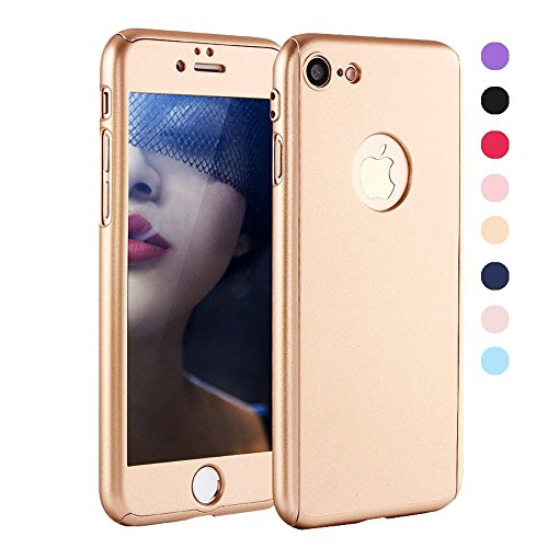 iPhone 6 Plus Case - GreenElec [Ultra-thin] 360 All Round Protective - Hard Hybrid Plastic Slim Cover Case with [Tempered Glass Screen Protector] for iPhone 6 Plus / iPhone 6S Plus (Gold)