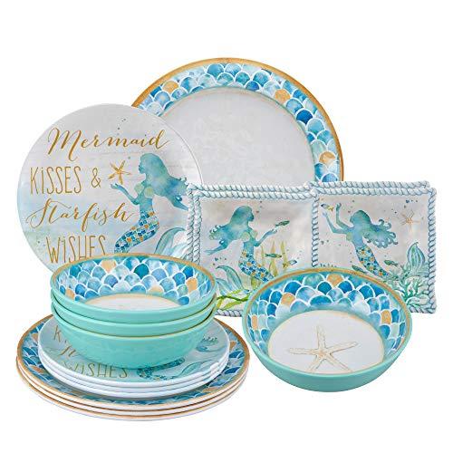 Gourmet Art 16-Piece Mermaid Melamine Dinnerware Set (Dinnerware Coastal Melamine)