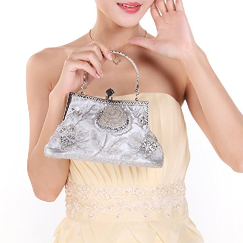 Vintage Clutch Beaded Purse Silver Evening And Wedding Women Bags Style For KING Handbag Manual Party Sequined MIMI 6qwWU5Uf