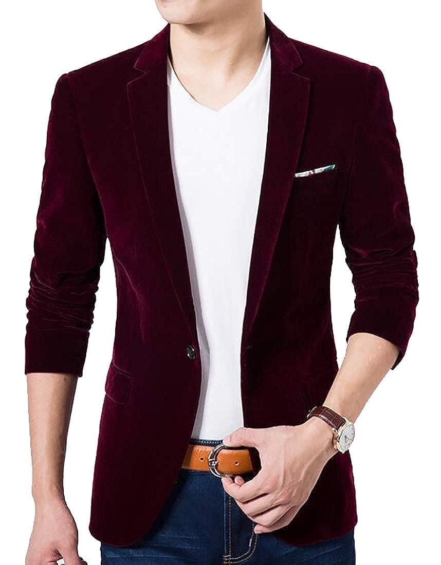 Emastor Mens Slim Fit Notched Lapel 1 Button Velvet Suit Jacket