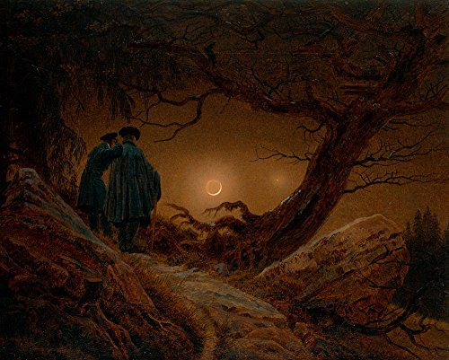 The Museum Outlet - Caspar David Friedrich - Two men contemplating the moon, Stretched Canvas Gallery Wrapped. 11.7x16.5