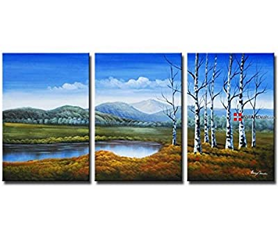 Framed Abstract Blue Aspens Wall Art Oil Painting 3 Piece