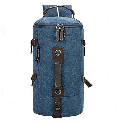 mefly nuevo hombre grande bolsa cilindro Moda Retro hembra a correa de lienzo bolso de Diagonal, Large dark blue Trumpet blue