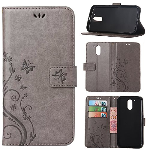 Moto G4 / G4 Plus Case, Harryshell(TM) Caving Butterfly Flower PU Wallet Leather Protective Case Cover with Card Slots for Motorola Moto G 4th Generation / Moto G Plus (2016) (Grey)