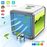 air conditioner and purifier - Air Space Cooler Portable Air Conditioner Personal Space Cooler Air Purifier Humidifier with 7 Colors LED Lights, USB Charging Desktop Cooling Fan for Home, Office, Outdoor